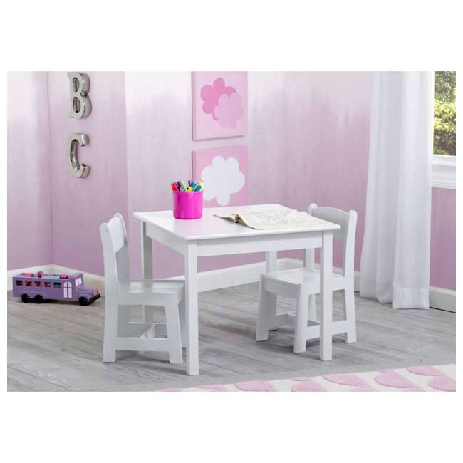 TT89601GN-130 Delta Children MySize Kids Wooden Play Activity Table & Chairs Set, Bianca White 1