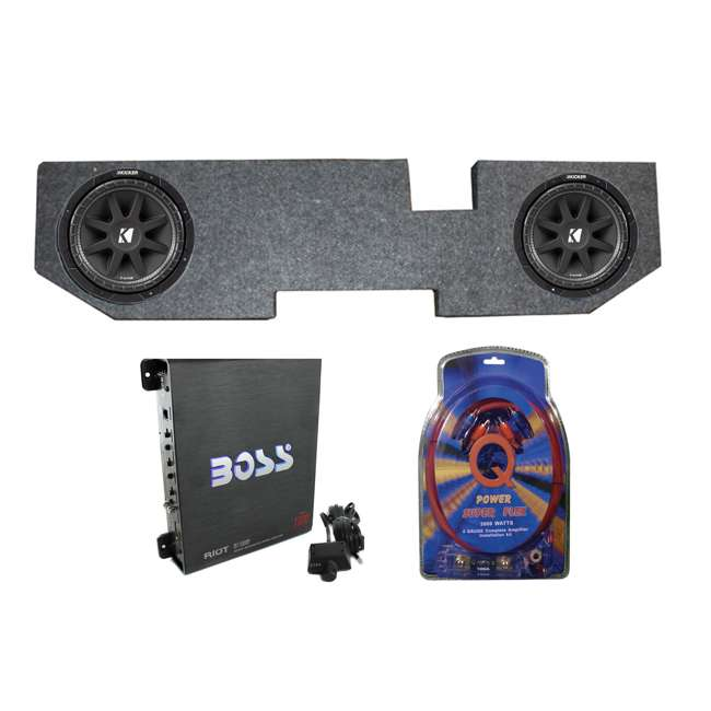 QDODGE104DOOR + 2 x 43C104 + R1100M + 4GAMPKIT-SFL Kicker 10C104 10-Inch 600W Subwoofers with Dodge Ram Quad 02-er Box with Amp with Wiring (Pair)