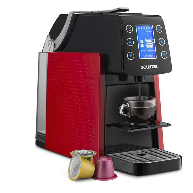 GCM5100R Gourmia 1 Touch Automated Single Serve Coffee and Espresso Maker Machine, Red  1