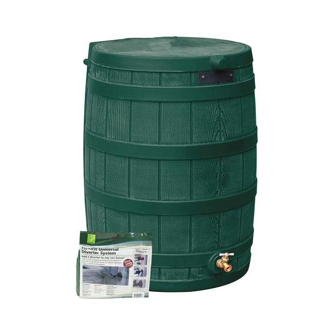 RW50-DIV-GRN Good Ideas Rain Wizard Rain Collection Barrel 50-Gallon w/ Diverter Kit, Green