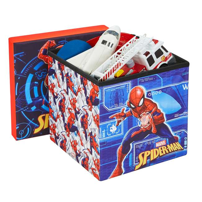 520018-001 Fresh Home Elements 15-Inch Portable Toy Chest & Ottoman Cube, Marvel Spider-Man 2