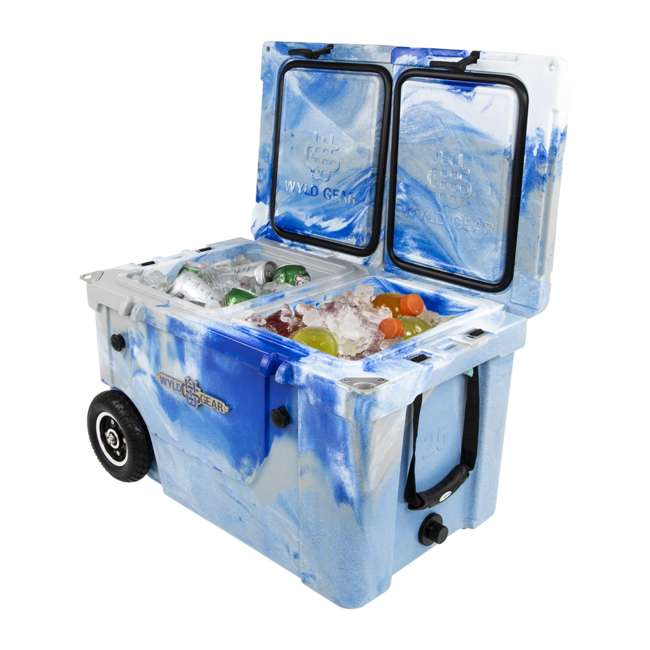 HC50-17M WYLD HC50-17M 50 Qt. Dual Compartment Insulated Cooler w/ Wheels, Marine Blue 4
