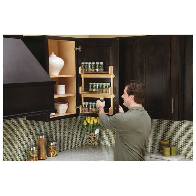 4SR-21 Rev-A-Shelf 21 Inch Cabinet Door Mount Wood 3 Shelf Spice Rack with Hardware 2