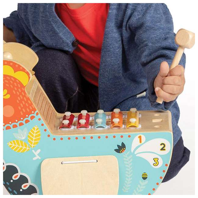 216570 Manhattan Toy Musical Colorful Chicken Wooden Instrument with 5 Attachments 5