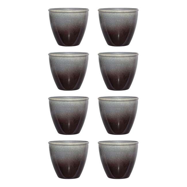 4 x 1606BP32 Suncast Seneca 16 Inch Decorative Resin Flower Planter Pot, Gray/Black (8 Pack)