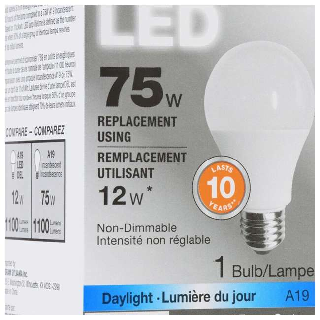 SYL-79293 Sylvania A19 12W 120V E26 Clear Daylight LED Bulb (2 Pack) 5