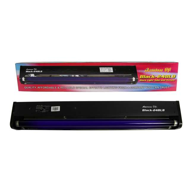 MISTER-KOOL-II-BLACK + 2 x BLACK-24BLB American DJ Mister Kool II Smoke Fog Machine & 24 Inch 20W Black Light (2 Pack) 9