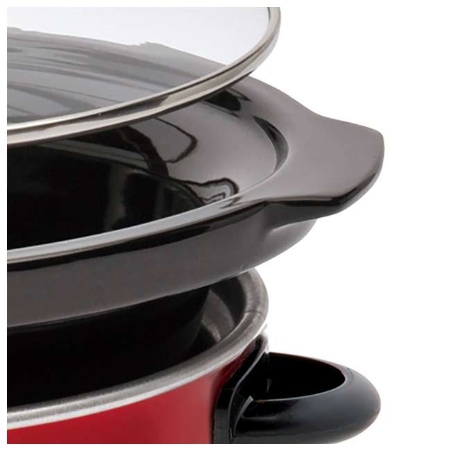 WSC801RD Westinghouse 8-Quart Stainless Steel Slow Cooker with Warmer, Red 3