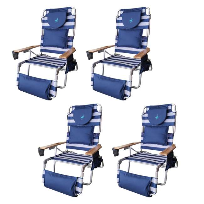 4 x D3N1-1001S Ostrich Deluxe Padded 3-N-1 Outdoor Lounge Reclining Beach Chair, Blue (4 Pack)