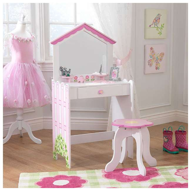 13035 KidKraft 13035 Durable Wooden Dollhouse Vanity and Seat Stool with Mirror, Pink 1
