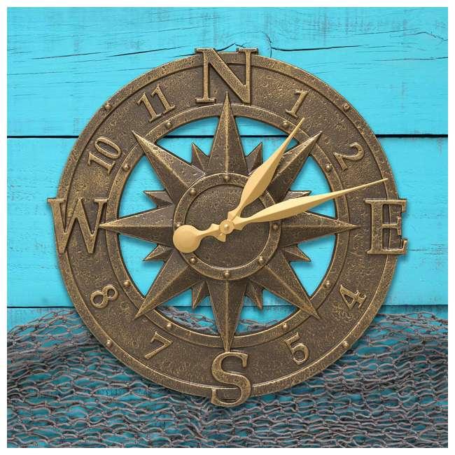 1173 Whitehall 1173 Indoor Outdoor Aluminum Alloy Nautical Compass Clock, Bronze 1