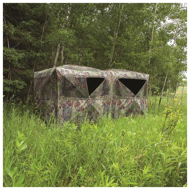 BARR-BE650BW Barronett Blinds BE650BW Big Beast Backwoods Double Wide Hub Hunting Blind, Camo 4