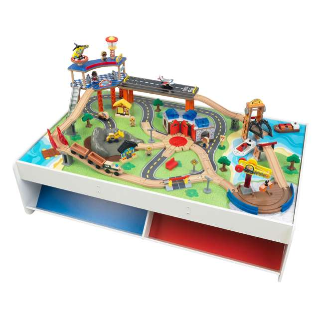 KDK-18012 KidKraft 18012 Railway Express Kid Toddler Wooden 79 Piece Toy Train Set & Table