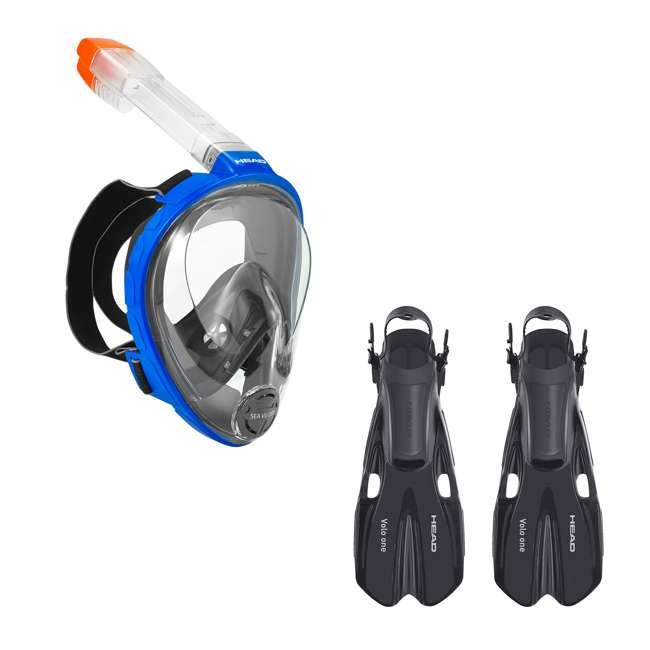 496325-BLBKXS + 480203-SFBKSM Head Sea Vu Full Face Anti Fog XS Kids Adult Snorkel Scuba Swim Mask & S/M Fins
