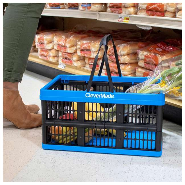 8031425-21843PK CleverMade CleverCrate 16L Collapsible Shopping Basket, Neptune Blue (3-Pack) 4