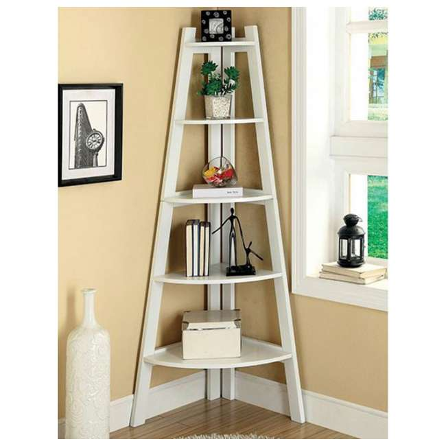 IDF-AC6214WH Furniture of America Lyss Contemporary 5 Tier Wooden Corner Ladder Shelf, White 1