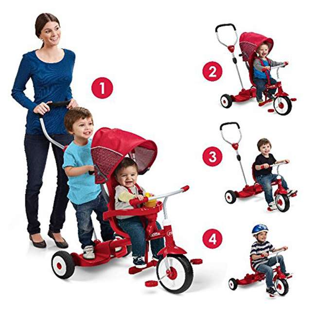 499 Radio Flyer 499 Kids' Toddlers Ride and Stand Stroll 'N Trike, Red 1