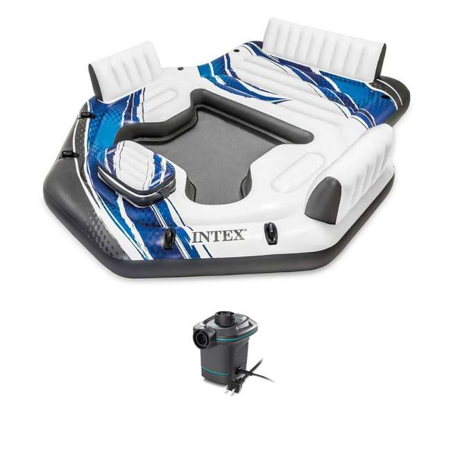 57272EP + 66639E Intex Adult 5 Seat Pool Float w/ Quick Fill AC Electric Air Pump