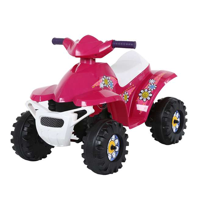 ACQUAD-P-Cam Rollplay 6-Volt Battery Powered Toddler Kids Mini Quad Ride-on, Flower Pink