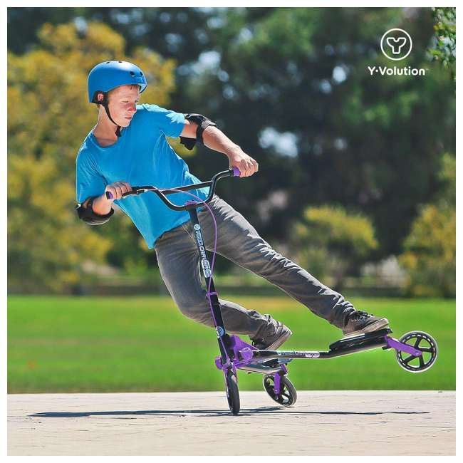 100607 Yvolution Y Fliker Carver C5 Kids/Adult Foldable Wiggle Drifting Scooter, Purple 6