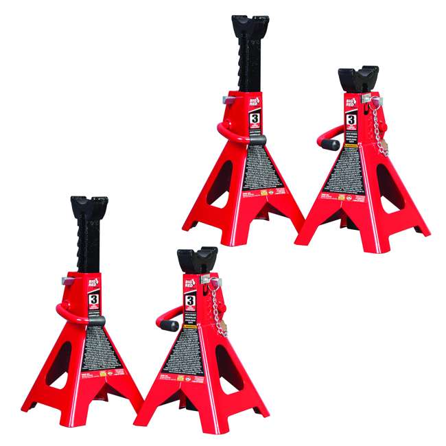 TOR-T43002A Torin Big Red 3 Ton Capacity Double Locking Steel Jack Stands, 1 Pair (2 Pack)