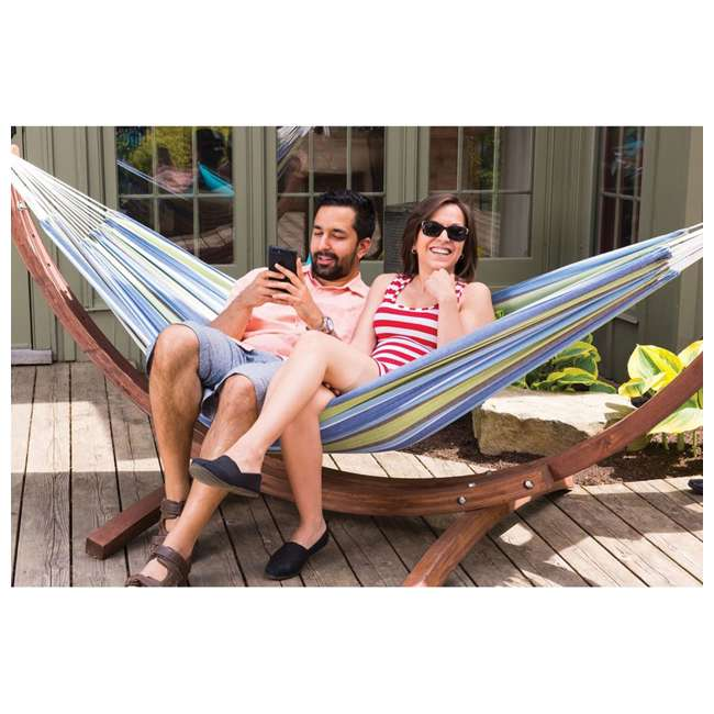 C8SPCT-31 Vivere Double Cotton 2-Person Hammock with Solid Pine Stand (2 Pack) 3