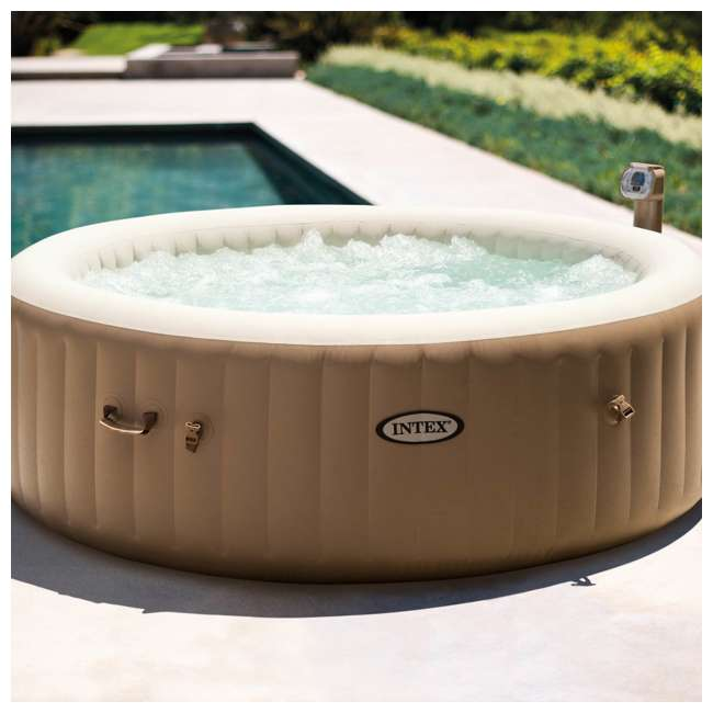 28407E + QLC-14888 Intex Pure Spa 6-Person Inflatable Portable Bubble Jet Hot Tub with Chemical Kit 2