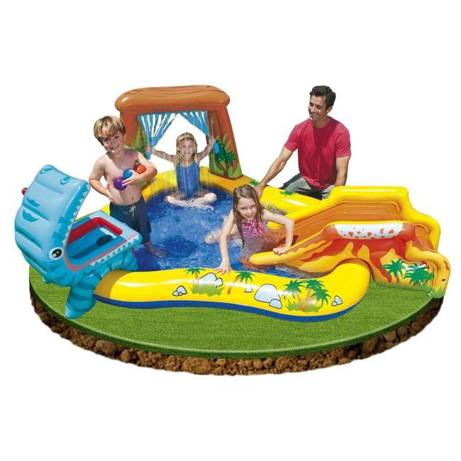 "57444EP + 57470EP Intex 8' x 6.25' x 43"" Dinosaur Play Center w/ 5' x 48"" Kids Swimming Pool 5"