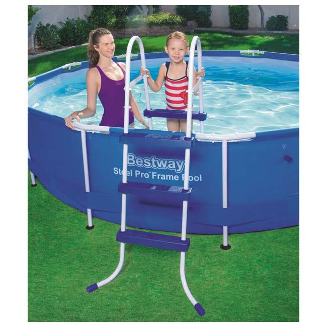 58334E-BW + 28031E Bestway 36-Inch Pool Ladder & 12-Foot Round Easy Set Pool Cover   2