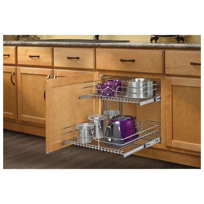 3 x 5WB2-2122-CR Rev-A-Shelf 5WB 2 Tier 21 Inch Wire Basket Pull Out Cabinet Organizer (3 Pack) 2