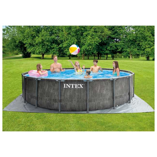 26741EH Intex 15ft x 48in Greywood Prism Steel Frame Pool Set with Cover, Ladder, & Pump 4