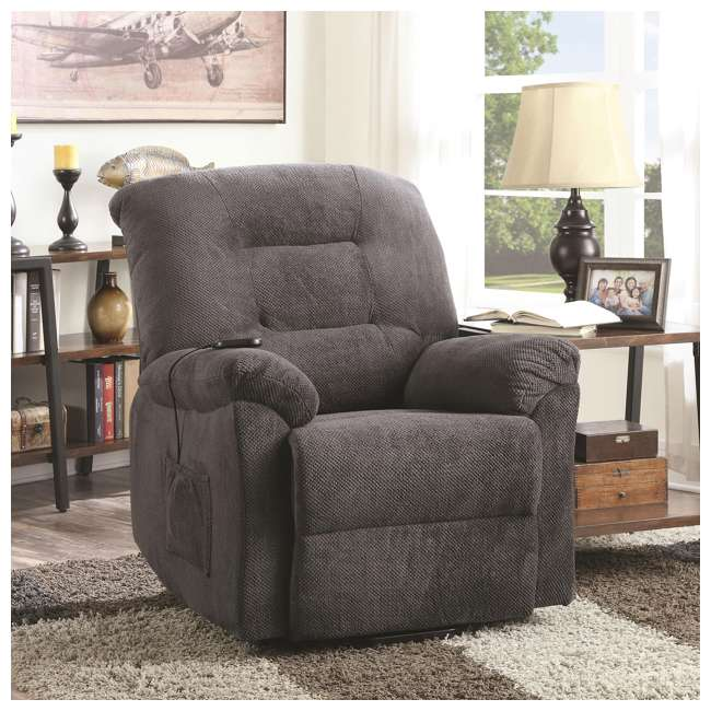 600398ii Coaster Home Furnishings Remote Power Lift Recliner, Charcoal 5