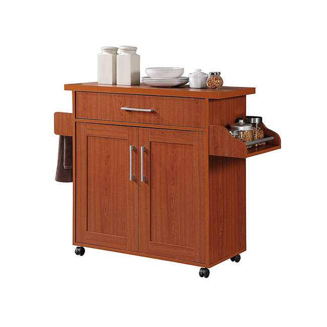 HIKF78 CHERRY Hodedah Wheeled Kitchen Island Cart with Spice Rack and Towel Holder, Cherry