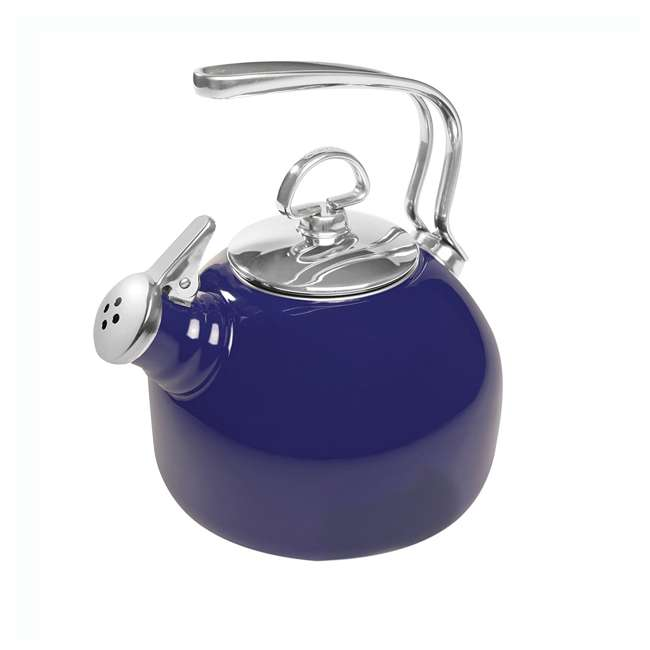 37-18S-BL Chantal 1.8 Quart Enamel Stove Top Whistling Teapot Kettle, Blue (2 Pack) 1