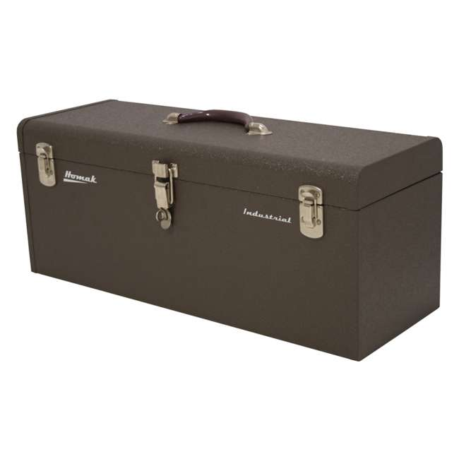 BW00200240 Homak 24 Inch Portable Industrial Steel Toolbox with Powder Coat Finish, Brown 1