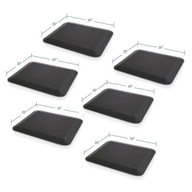 6 x AFM - Flat LifeSpan 34 x 20-Inch Home Office Non-Slip Standing Mat, Black (6 Pack)