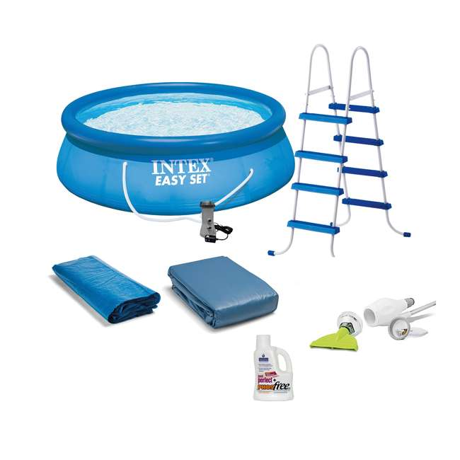 26167EH + K535CBX/GRN + NC-05131 Intex Inflatable 15 Ft Pool Set w/ Pump + Skooba Vacuum + Pool Perfect PHOSfree 7