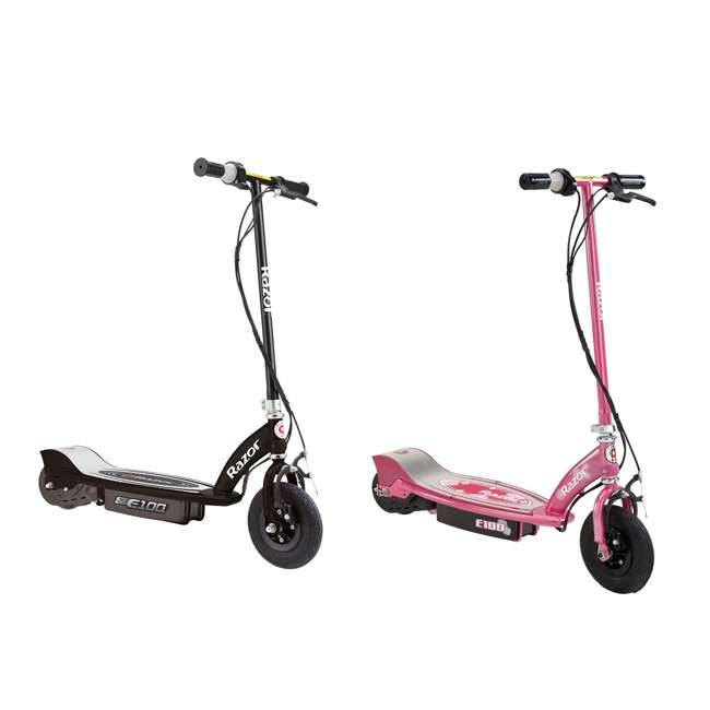 13110097 + 13111263 Razor E100 Kids Motorized 24V Power Ride On Scooter, Black & Sweat Pea (2 Pack)