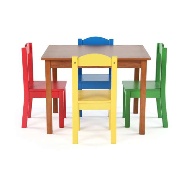 TC633 - Highlight Humble Crew Friends Highlight Collection Cedar Wood Table & 4 Primary Chair Set 1