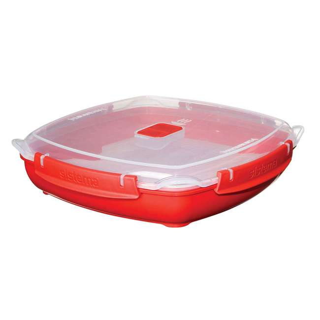 SISTEMA-1106ZS Sistema Large Microwave Collection Plate w/ Steaming Rack, Red