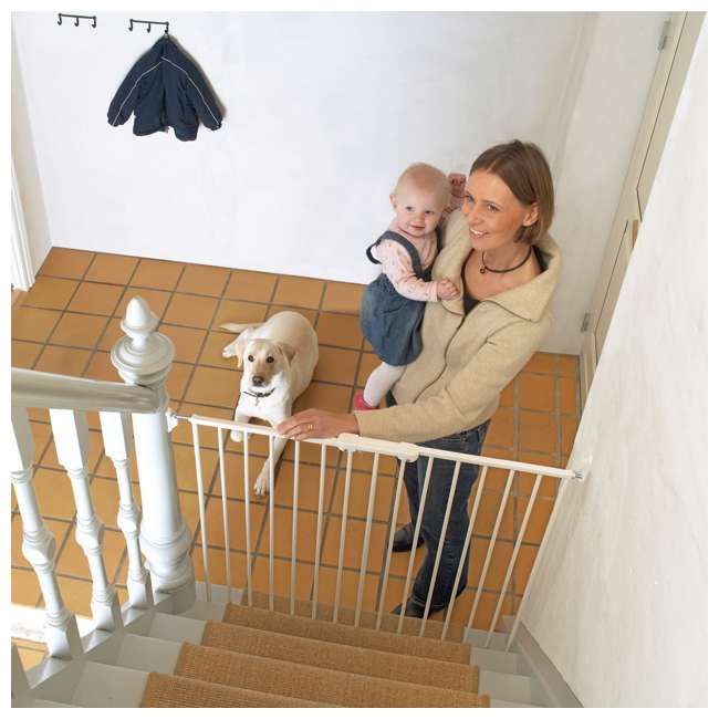 BBD-57614-2400 BabyDan 57614 Streamline Extra Tall 42 Inch Wall Mounted Pet Safety Gate, White 1