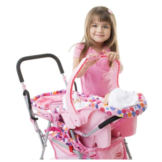 JVY-042 + JVY-002 Joovy Toy Doll Caboose Pretend Play Stroller & Car Seat, Pink Dot 1