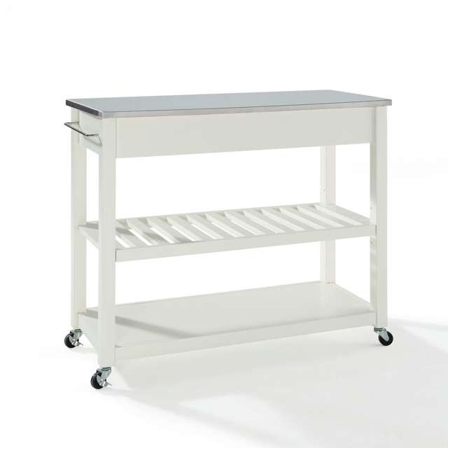 KF30052WH Crosley Stainless Steel Top Kitchen Cart with Drawers, White 2
