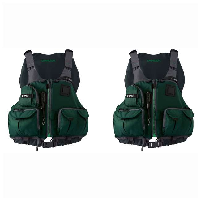 NRS_40009_03_106 NRS Chinook Fishing PFD XX-Large Safety Life Jacket, Green (2 Pack)