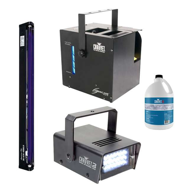 HURRICANE-HAZE2D + FJU + MINISTROBE-LED + BLACK-48 CHAUVET Fog Machine w/ Mini Strobe Light Effect, Black Light & Fog Fluid