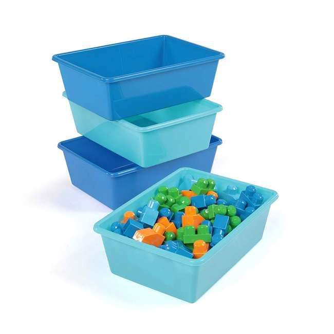 XL104 Tot Tutors XL104 Large Plastic Organization Bins, Blue/Teal (8 Pack) 2