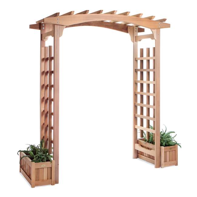 PA96 All Things Cedar PA96 Backyard Garden Wooden Archway Pagoda Arbor
