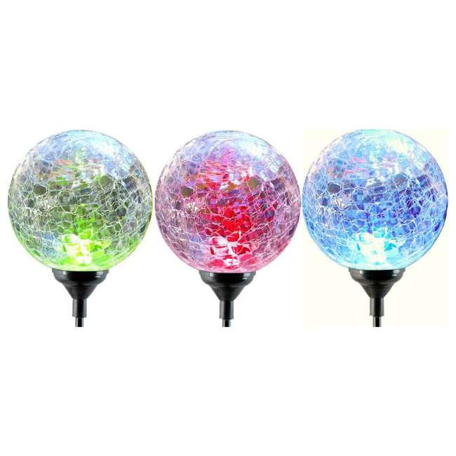 MR-91251 Moonrays 3 LED Solar Path Lights Glass Ball Design With Color Changing Feature 2