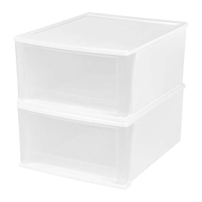 129957-2PK IRIS Medium 32 Qt Stackable Pull Out Clear Front Plastic Drawer, White (2 Pack) 1