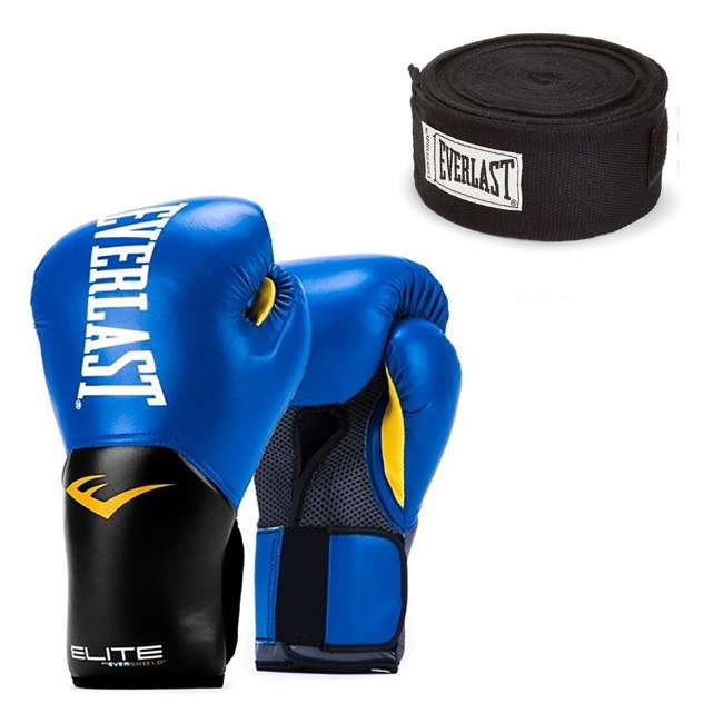 P00001205 + 4455BP Everlast Elite Pro Style 14-Ounce Training Boxing Gloves & Hand Wraps